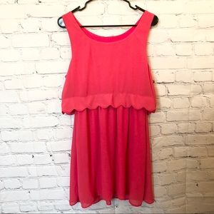 Belk sleeveless coral scalloped sundress